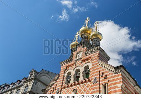 Close-up On Three Onion Domes And Bells Of The Orthodox Alexander Nevsky Church, Copenhagen, Denmark