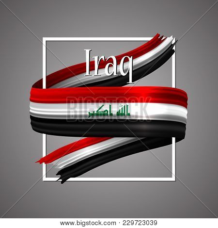 Iraq Flag. Official National Colors. Iraqi 3d Realistic Ribbon. Waving Vector Patriotic Glory Flag S