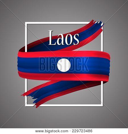 Laos Flag. Official National Colors. Laos 3d Realistic Ribbon. Waving Vector Patriotic Glory Flag St