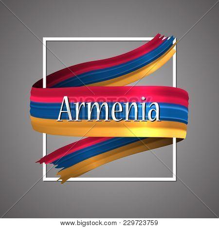Armenia Flag. Official National Colors. Armenian 3d Realistic Ribbon. Waving Vector Patriotic Glory