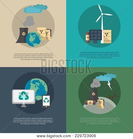 A Set Of Vector Illustration Of Pollution Ecology Factories. Ecology Concept. Environmental Pollutio