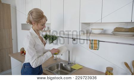 Female Housewife Holds Plate In Hands And Wipes It With Sponge And Detergent Near Sink With Smile On