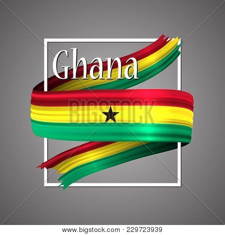 Ghana Flag. Official National Colors. Ghanaian 3d Realistic Ribbon. Waving Vector Patriotic Glory Fl