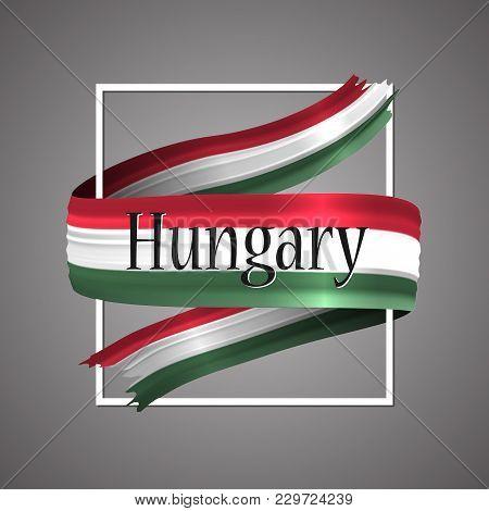 Hungary Flag. Official National Colors. Hungarian 3d Realistic Ribbon. Waving Vector Patriotic Glory