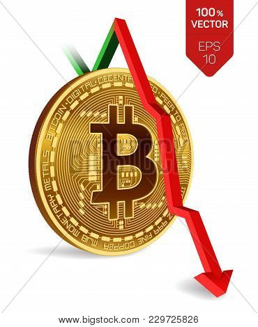 Bitcoin. Fall. Red Arrow Down. Bitcoin Index Rating Go Down On Exchange Market. Crypto Currency. 3d