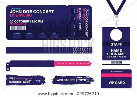 Concert Ticket, Bracelets, Lanyards, Identification Card For Access Control To Event. Festival Wrist