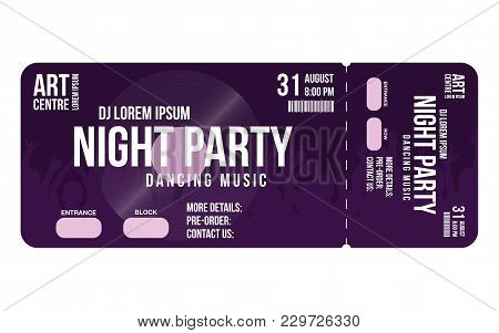 Concert Ticket Template. Concert, Party Or Festival Ticket Design Template With People Crowd On Back