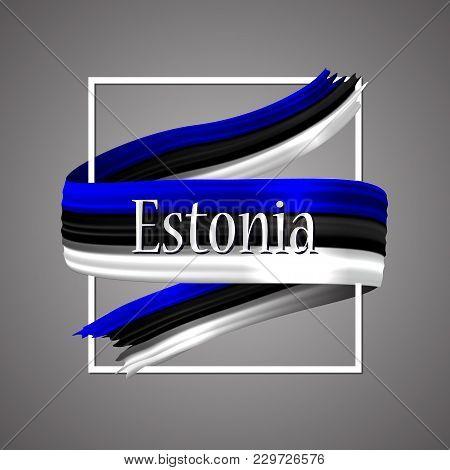 Estonia Flag. Official National Colors. Estonian 3d Realistic Ribbon. Waving Vector Patriotic Glory