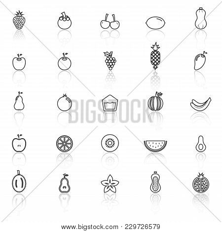 Fruit Line Icons With Reflect On White Background, Stock Vector