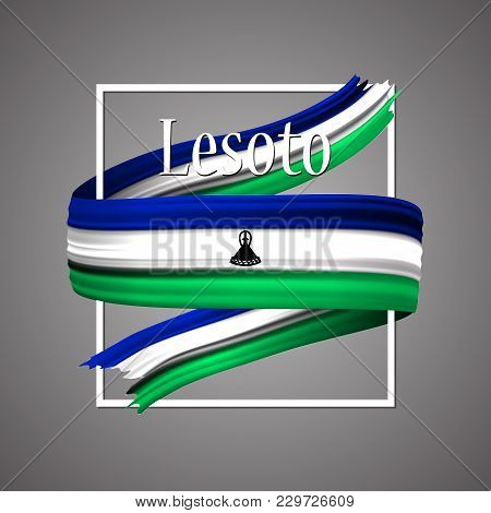 Lesoto Flag. Official National Colors. Lesoton 3d Realistic Ribbon. Waving Vector Patriotic Glory Fl