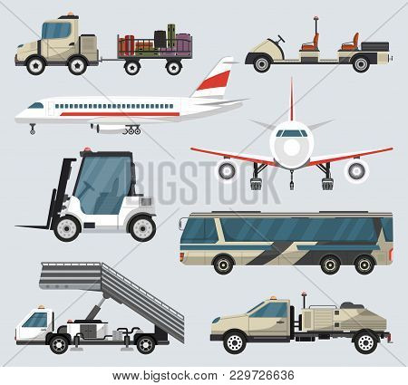Passenger Airport Ground Technics Set. Tow Truck, Fright Forklift, Passenger Ladder, Modern Bus, Bag