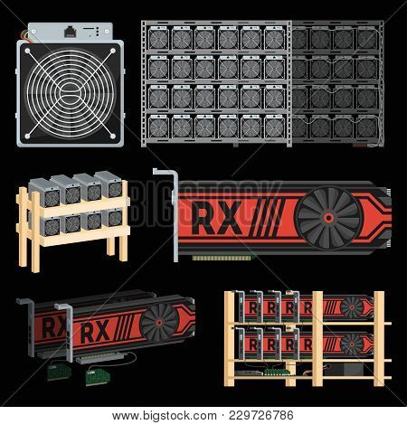 Bitcoin Mining Farm With Gpu Videocards. Blockchain Technology And Digital Money, Cryptocurrency Sys