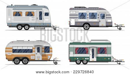 Side View Camping Trailers Isolated On White Background. Car Rv Trailer Caravan, Motorhome, Mobile H