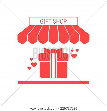 Gift Shop Single Flat Vector Icon. Striped Awning And Signboard. A Series Of Shop Icons.
