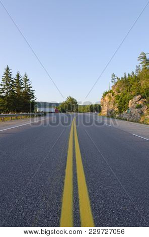 Picture Of The Canadian Highway Along Huron Lake Shore