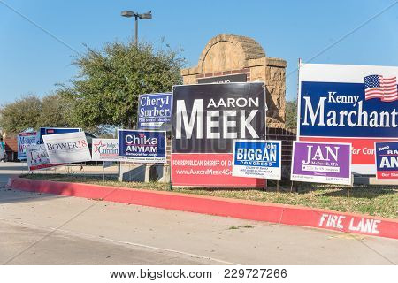 Yard Signs At Residential Street For Primary Election Day In Dallas County, Usa