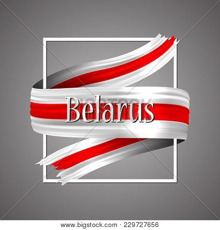 Belarus Flag. Official National Colors. Belorussian 3d Realistic Ribbon. Waving Vector Patriotic Glo