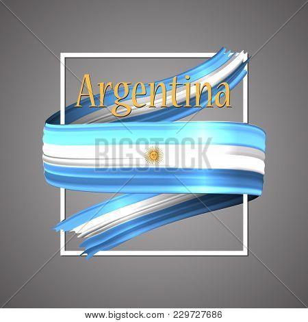 Argentina Flag. Official National Colors.argentinian 3d Realistic Ribbon. Waving Vector Patriotic Gl