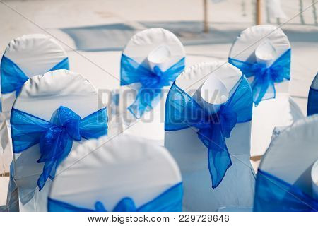 The Wedding Venue, The Chairs With White Lawn Cover Decorated In Blue Theme With The Cone Of Rose An