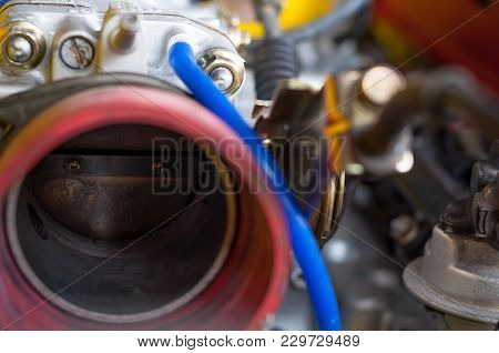 Close Up Old Throttle Body Intake Car Four Cylinder Modified Engine