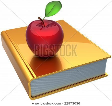 Golden school book and red apple