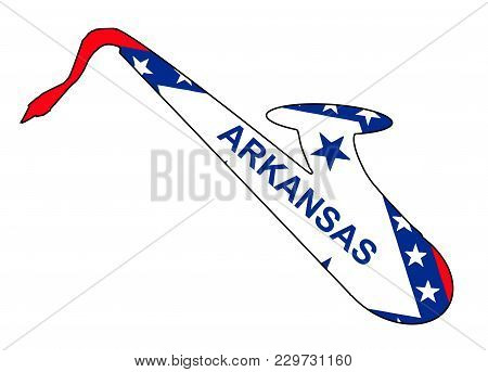 Silhouette Of A Saxophone With An Impression The Flag Of The Usa State Of Arkansas Over A White Back