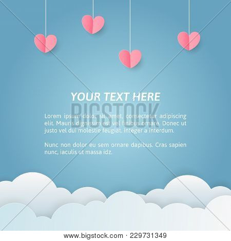 Romantic Card Template With Pink Hearts And Clouds. Paper Art Banner With Text Area. Vector Layout.