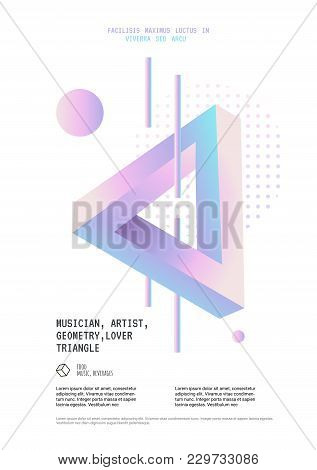 Penrose Triangle Poster For The Event. Impossible Geometric Element. Optical Illusion In Memphis Sty