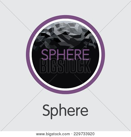 Sphere - Virtual Currency Colored Logo. Vector Graphic Symbol Of Crypto Currency Icon On Grey Backgr
