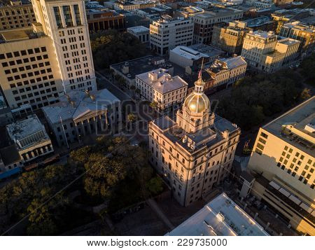 Aerial top down view of city hall in Savannah, Georgia, USA.