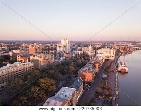 Aerial view of downtown Savannah, Georgia.