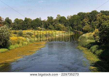 View Of The Lyna (another Name Lava) River In Pravdinsk (prior Friedland), Russia. The River In Nort