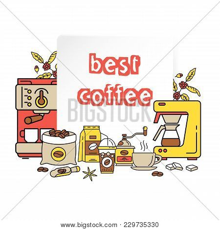 Best Coffee Design. Coffee Equipment Flat Collection Icons. Hot Drinks Flat Line Icons - Coffeemaker