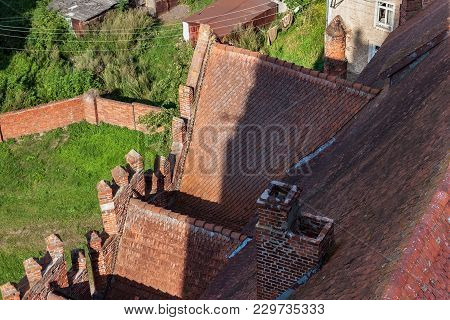 Aerial View Of Red Tile Roof Of The Church Of St. Great Martyr George The Victorious In Pravdinsk (f