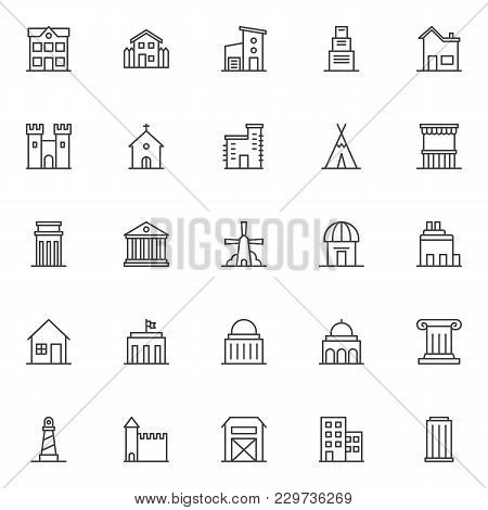 Landmarks And Building Outline Icons Set. Linear Symbols Collection, Line Signs Pack. Vector Graphic
