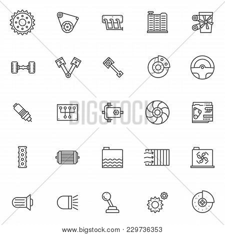 Car Engine Outline Icons Set. Linear Style Symbols Collection, Line Signs Pack. Vector Graphics. Set