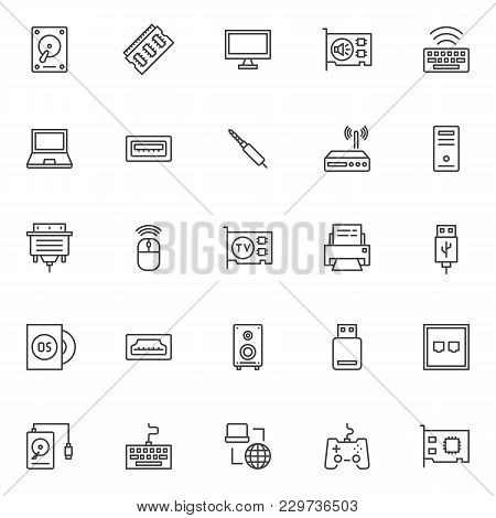 Computer Components Outline Icons Set. Linear Style Symbols Collection, Line Signs Pack. Vector Grap