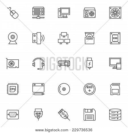 Computer Device Elements Outline Icons Set. Linear Style Symbols Collection, Line Signs Pack. Vector