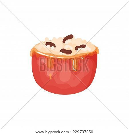 Red Apple Stuffed With Cream Cheese, Honey Caramel And Nuts. Delicious Fruit Dessert. Food Icon. Des