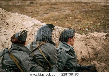 Gomel, Belarus - November 26, 2016: Radio Operator Of The German Troops Of The Second World War In T