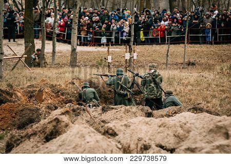 Gomel, Belarus - November 26, 2016: The Machine-gun Crew Of The Wehrmacht Troops In The Second World