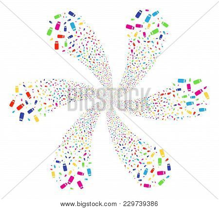 Colorful Bottle Cycle Flower With 6 Petals. Suggestive Cycle Combined From Scatter Bottle Items. Vec