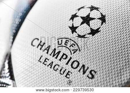 Kiev, Ukraine - February 22, 2018: Official match ball of the UEFA Final Champions League,