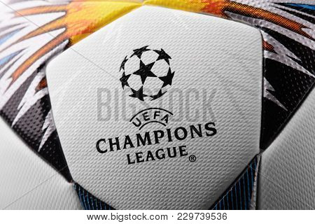 Kiev, Ukraine - February 22, 2018: Uefa Official Adidas 2018 Champions League Final Soccer ball