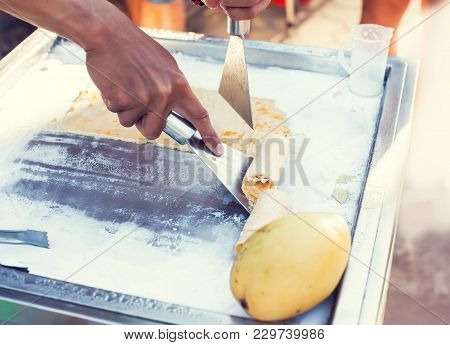 Art Of Making Thai Fruit Ice Cream In The Street