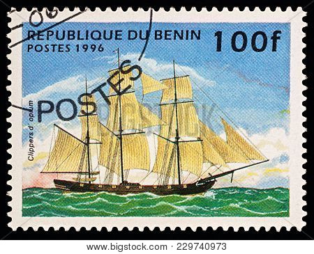 Moscow, Russia - March 06, 2018: A Stamp Printed In Benin Shows Old Sailing Ship (opium Clipper), Se