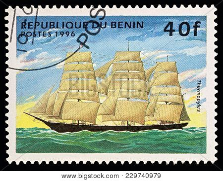 Moscow, Russia - March 03, 2018: A Stamp Printed In Benin Shows Ancient Sailing Ship (clipper)