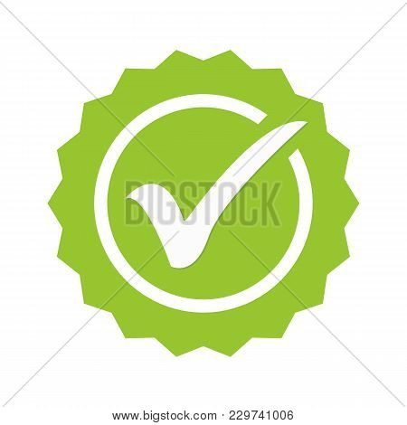 Tick Sign Element. Green Checkmark Icon Isolated On White Background. Simple Mark Graphic Design. Ci