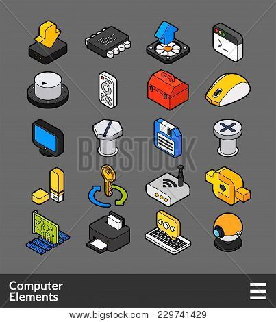 Isometric Outline Color Icons, 3d Pictograms Vector Set - Computer Symbol Collection