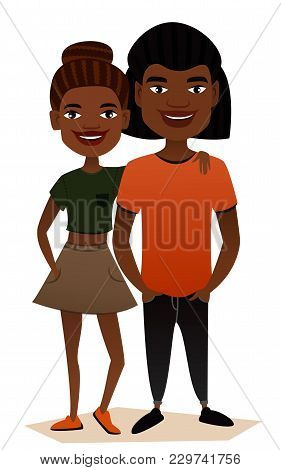 Happy Black Young Family Couple Isolated Illustration. Smiling Boyfriend And Girlfriend Characters.